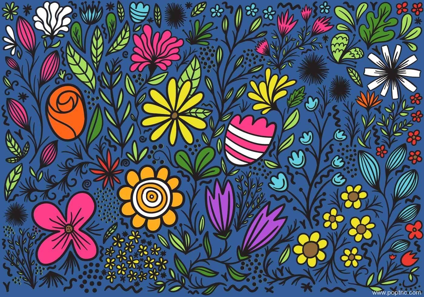 多彩植物花朵卡通印花矢量图-POP花型网