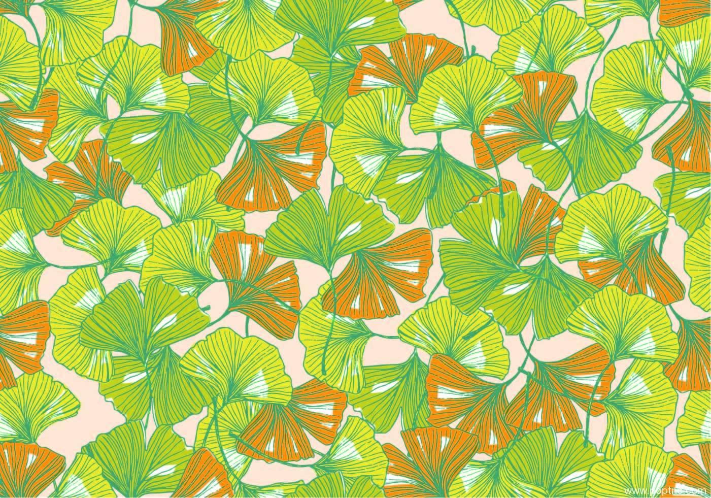扇子形树叶拼接矢量图-POP花型网