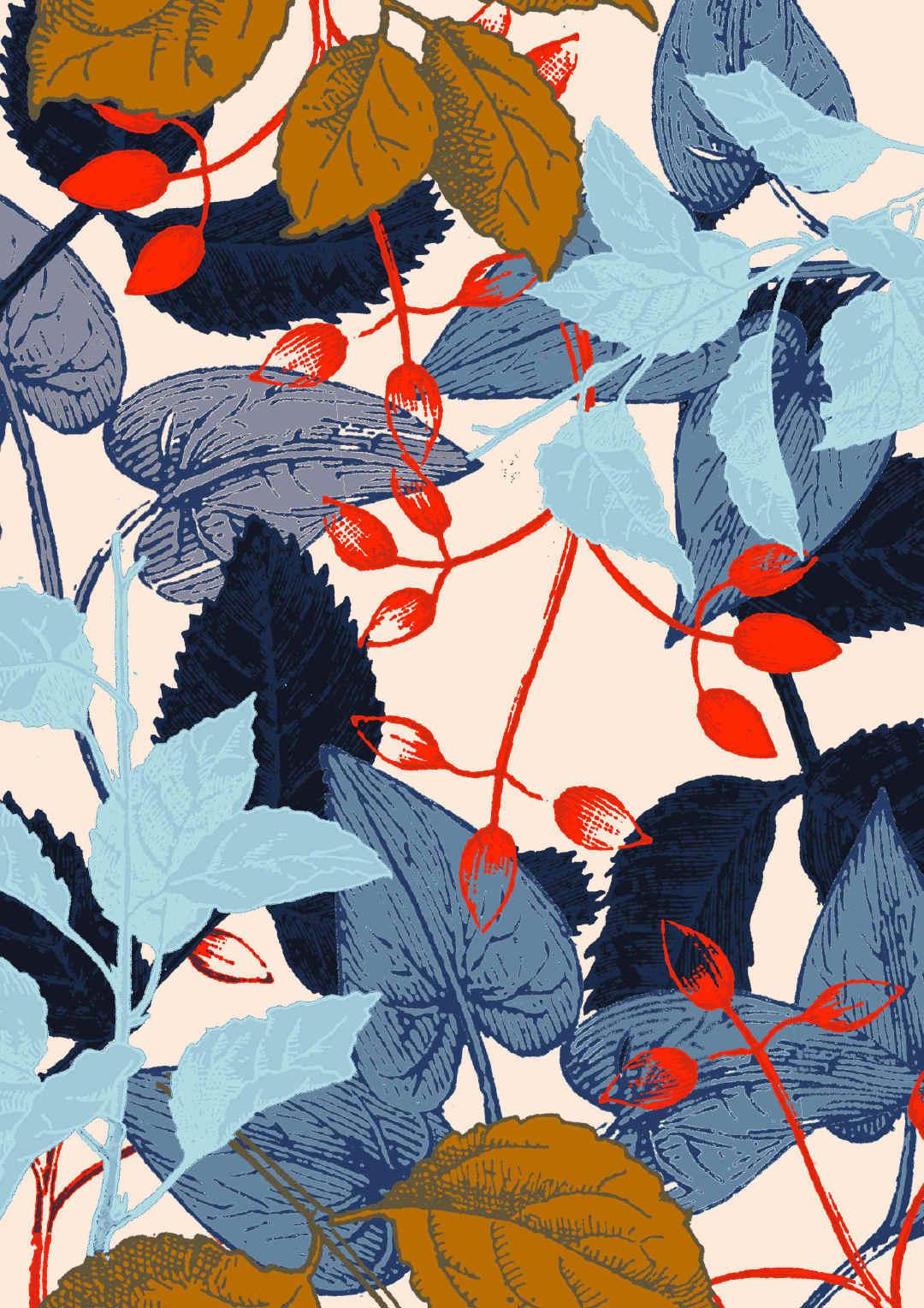植物叶子矢量图热转印花型文件-POP花型网