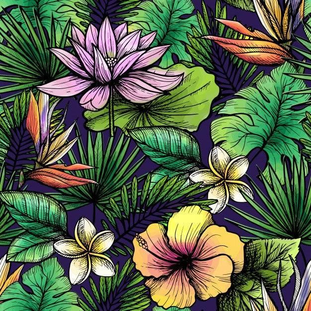 热带植物花卉服装数码印花矢量图-POP花型网