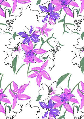 紫色花卉拼接数码印花矢量图-POP花型网