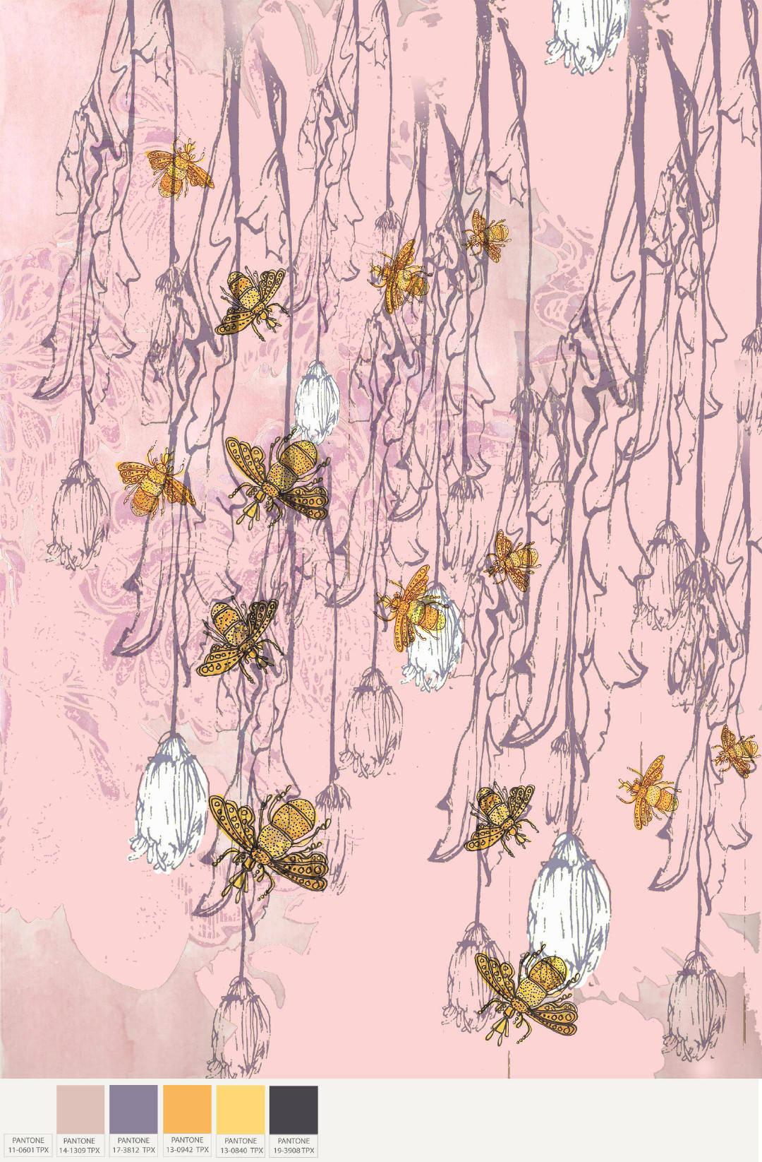昆虫植物花卉拼接矢量图源文件印花花型-POP花型网