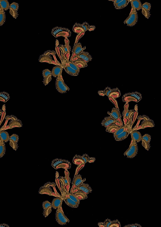 捕蝇草植物拼接矢量图数码印花源文件-POP花型网