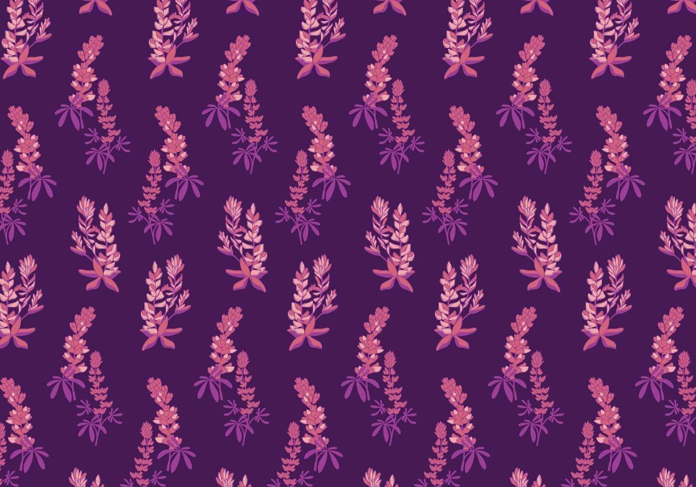 紫色花穗矢量图数码印花图案-POP花型网