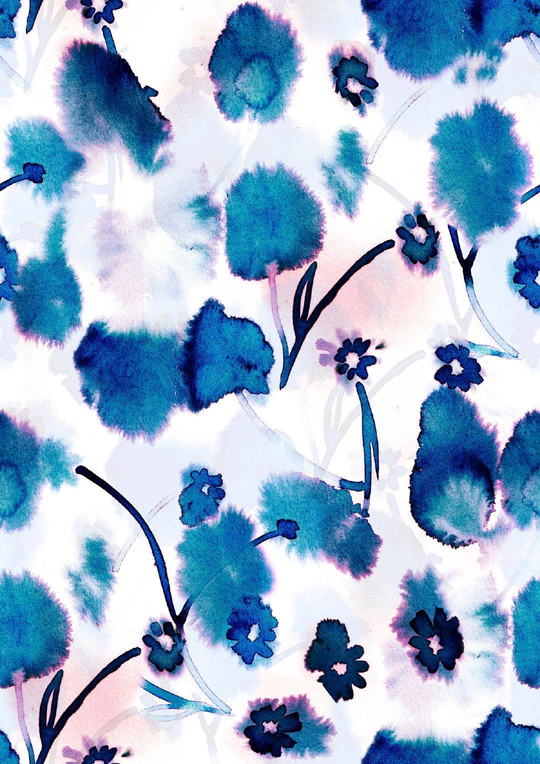 蓝色水墨风植物花卉矢量图-POP花型网