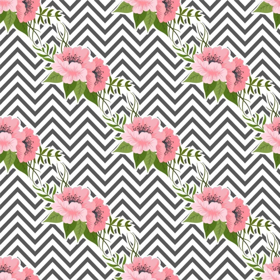 条纹植物花卉拼接矢量图-POP花型网