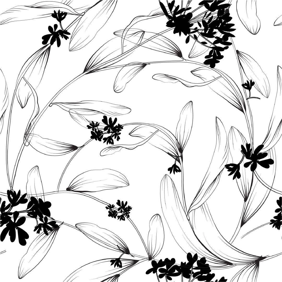 黑白植物花卉源文件热转印花型服装纺织面料数码印花素材-POP花型网