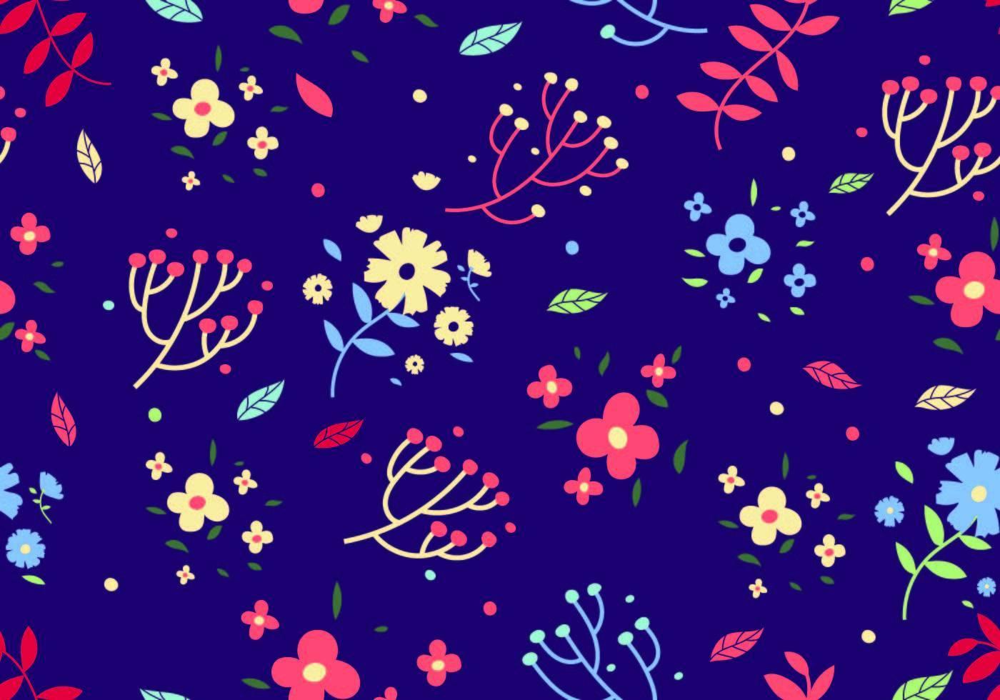 碎花拼接矢量图宝蓝色底数码印花花型服装纺织面料印花素材-POP花型网