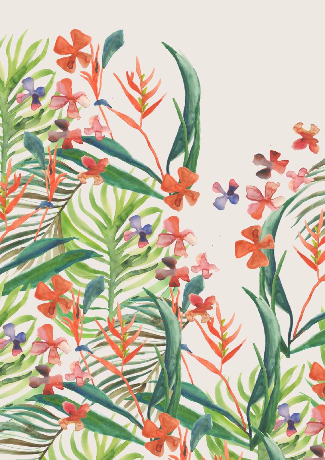 手绘风植物花卉矢量图案-POP花型网