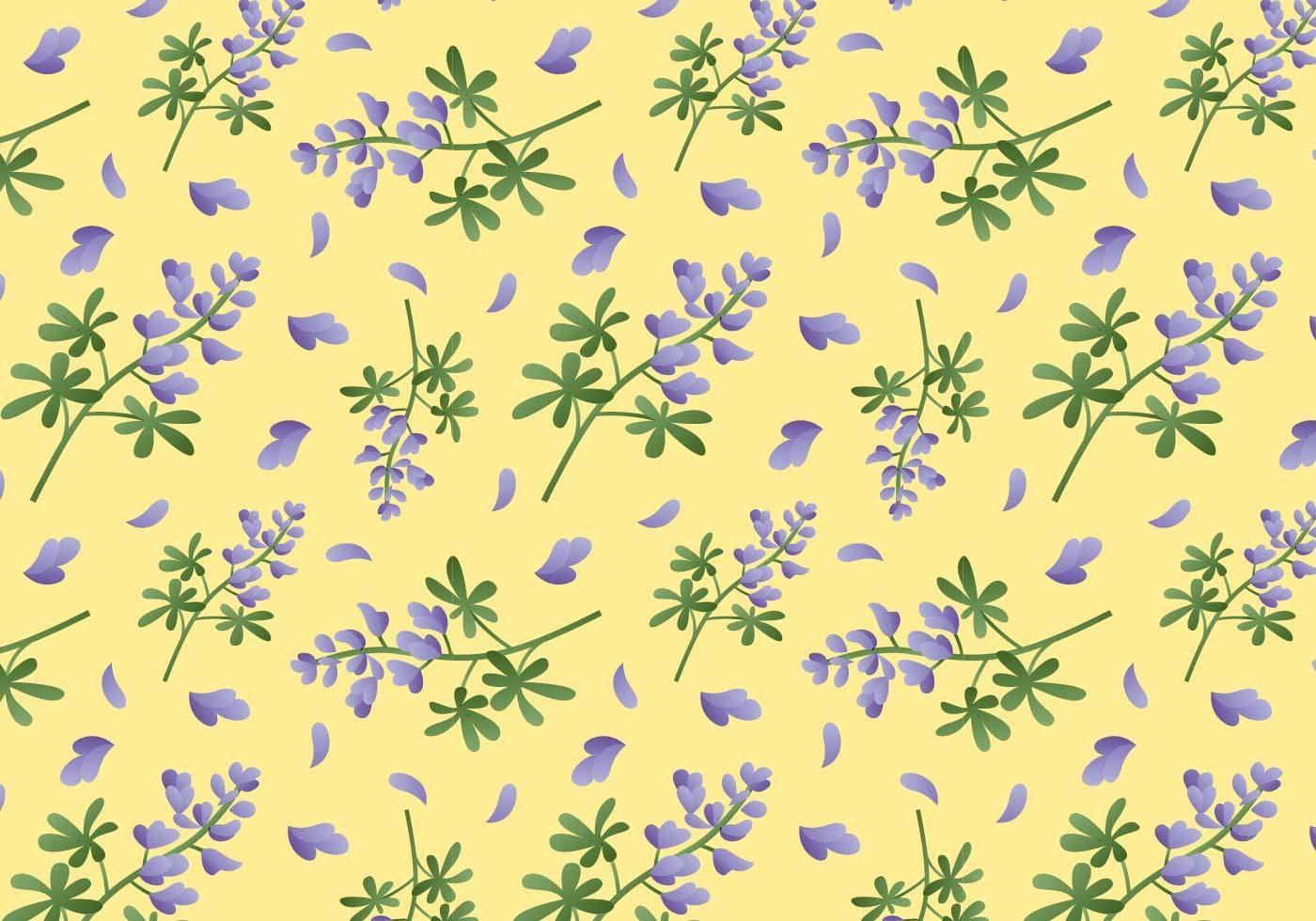 黄色底紫色小碎花数码印花矢量图-POP花型网