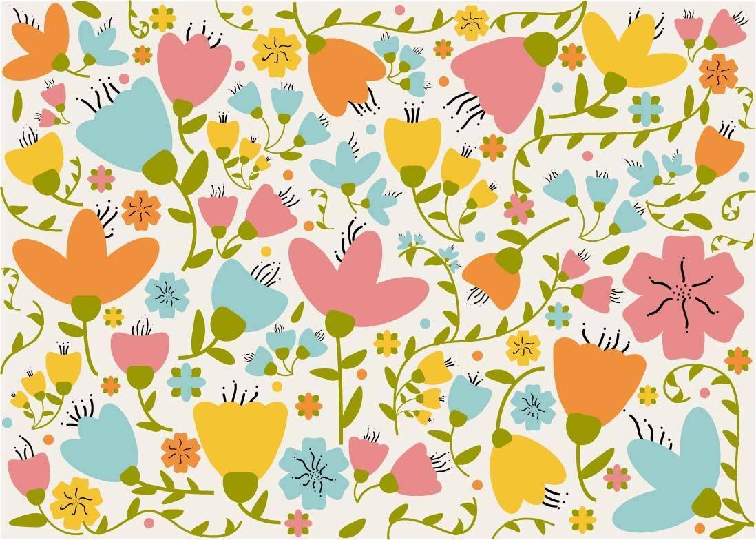 粉红可爱小花朵儿童数码印花矢量图-POP花型网
