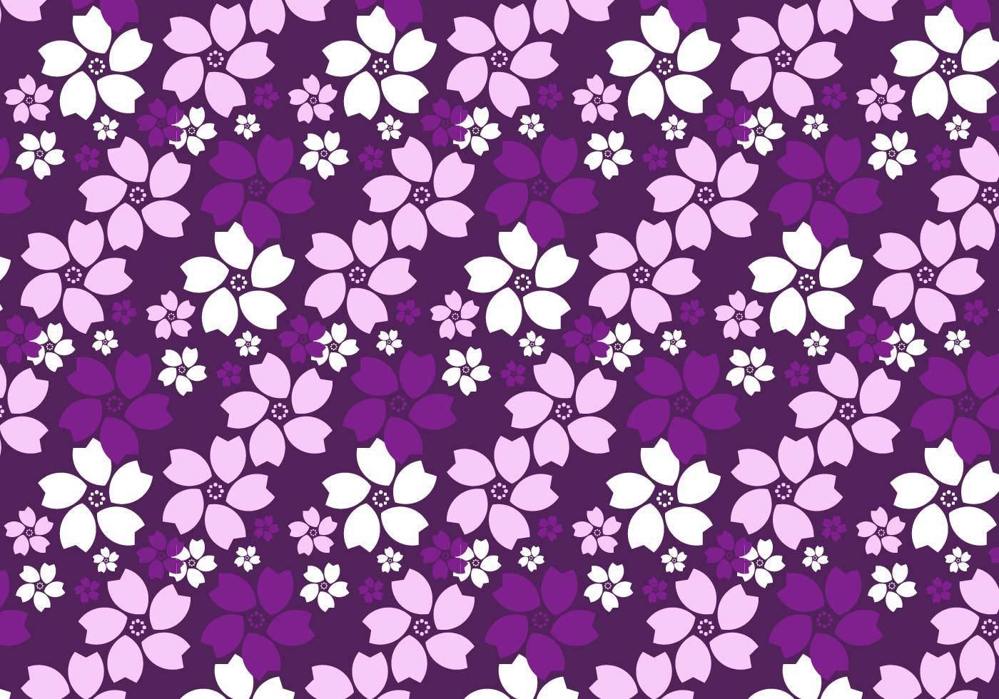 紫色花朵植物花位拼接矢量图案-POP花型网