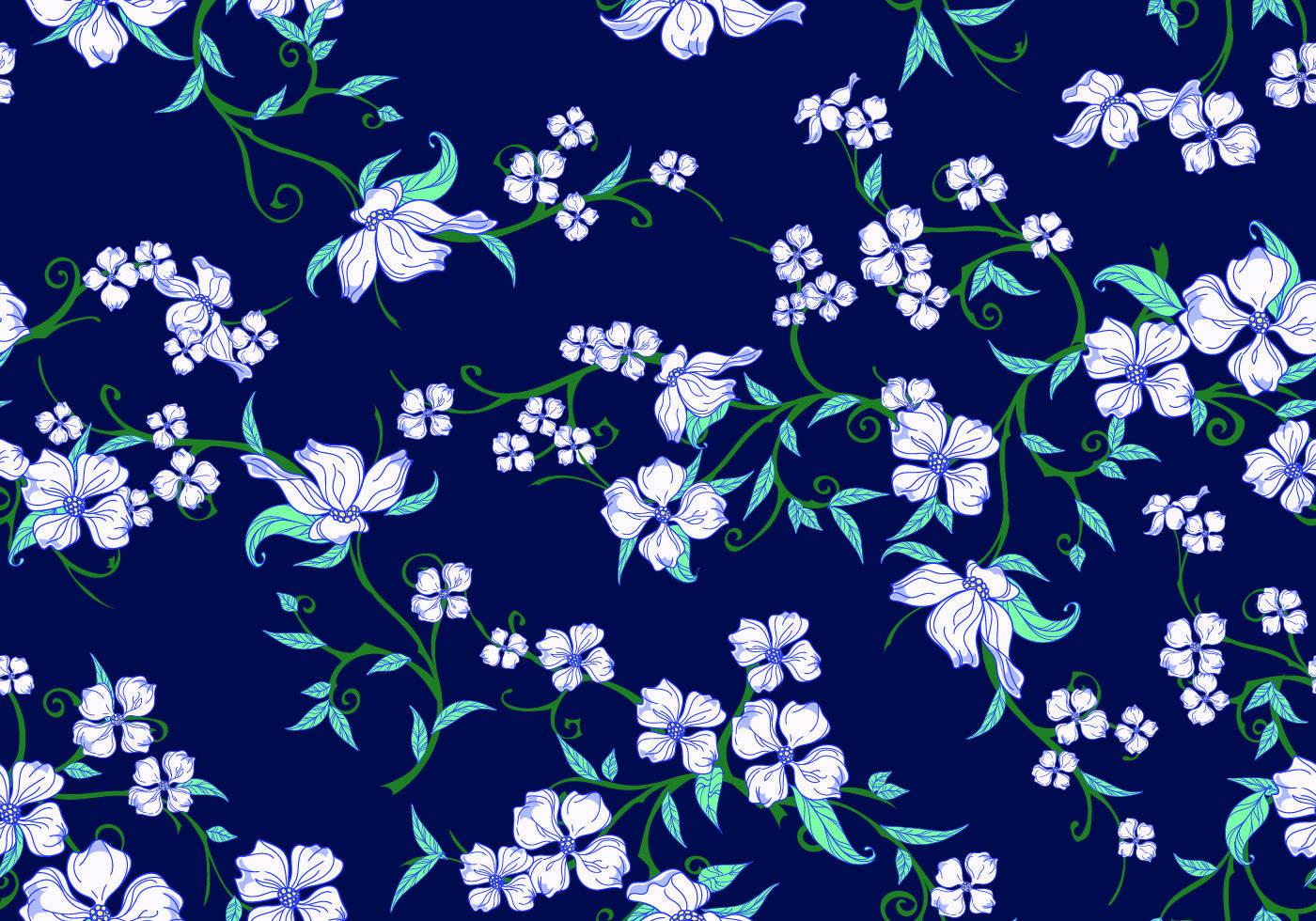 蓝色底纹白色碎花印花图案-POP花型网
