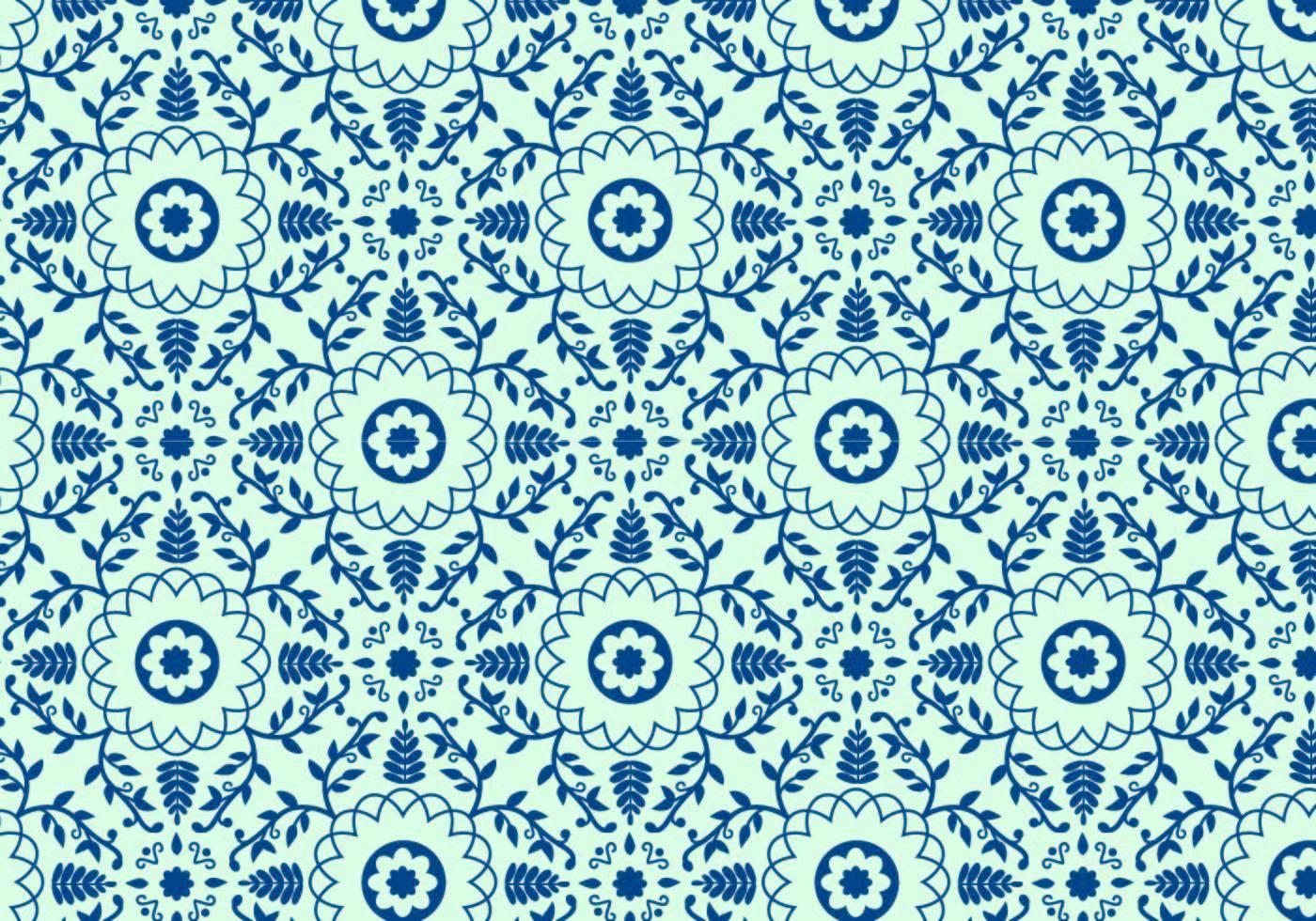 蓝色花纹数码印花矢量图-POP花型网