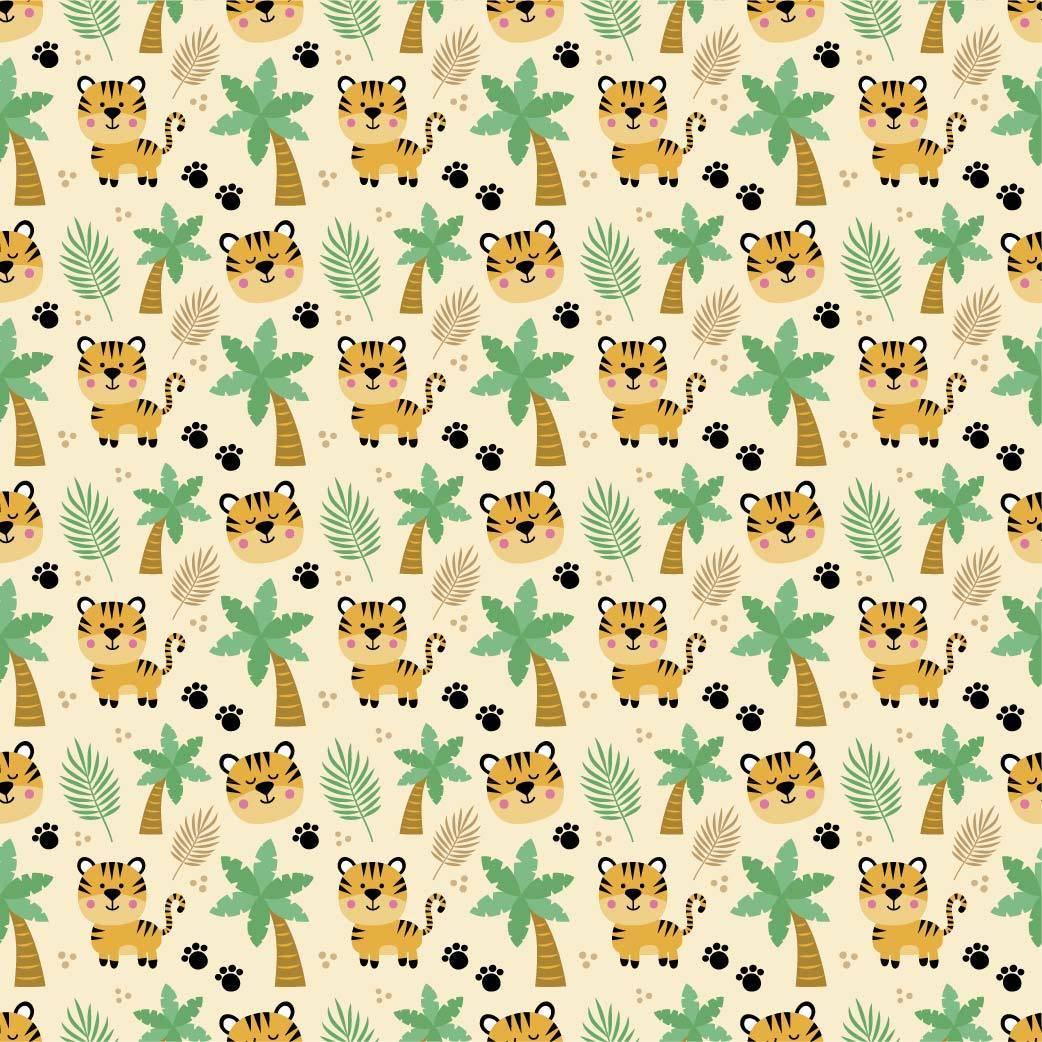 小老虎儿童服装印花矢量图-POP花型网