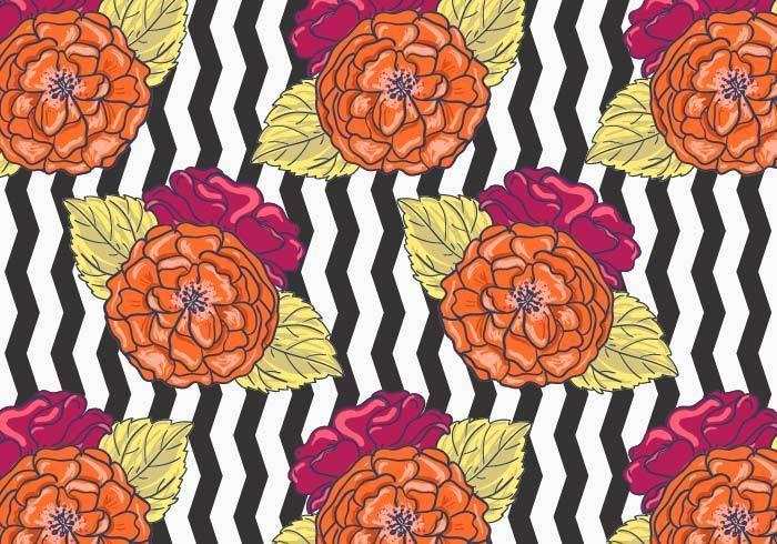橙色花朵黑白条纹底矢量图数码印花-POP花型网