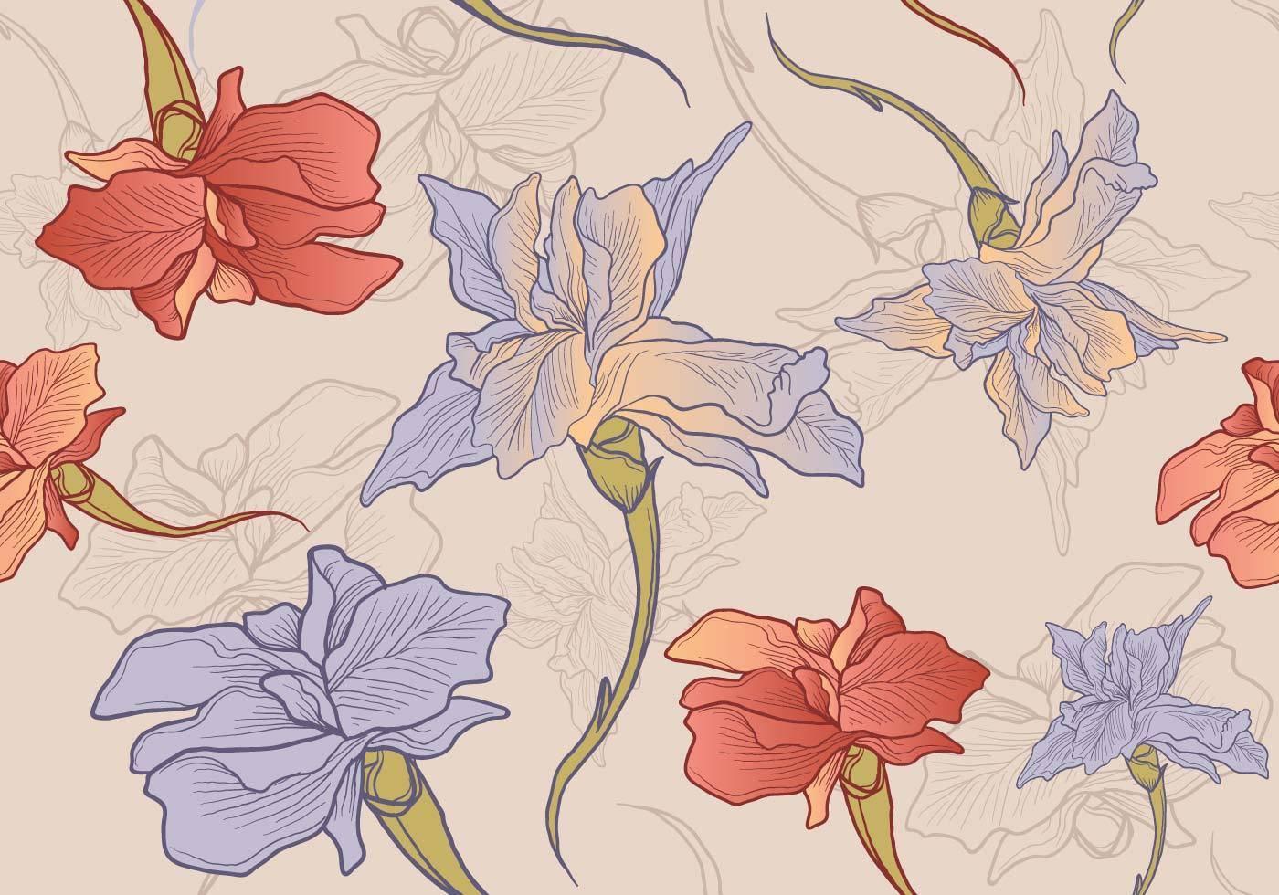 手绘花朵无限拼接矢量图-POP花型网