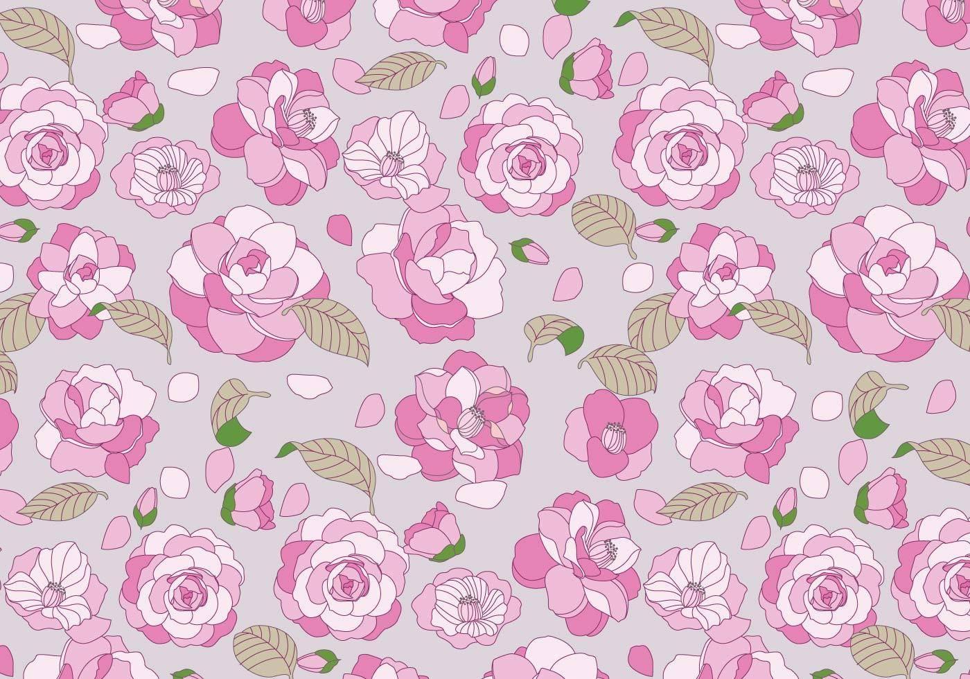 粉色花朵玫瑰花拼接矢量图数码印花图案-POP花型网