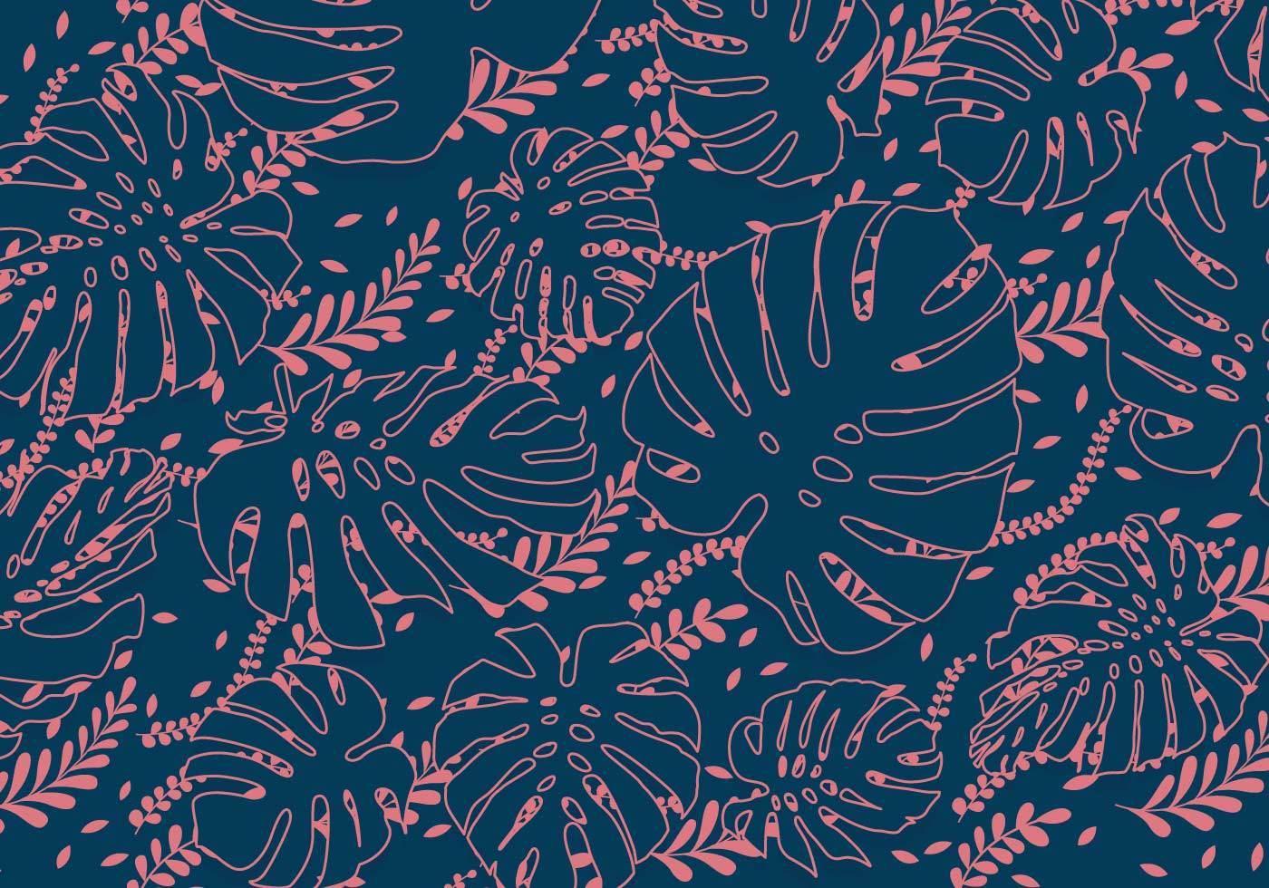 宝蓝色底荷叶植物花型数码印花矢量图-POP花型网