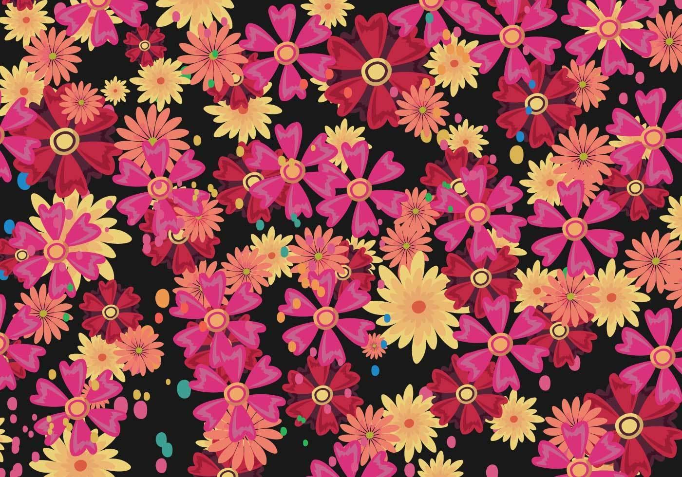 多彩花朵植物数码印花矢量图-POP花型网