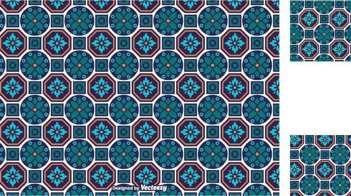 几何拼接图案矢量图-POP花型网