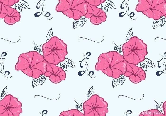 粉红色牵牛花拼接印花矢量图-POP花型网