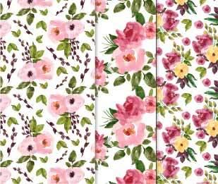 水彩风花朵拼接矢量图-POP花型网