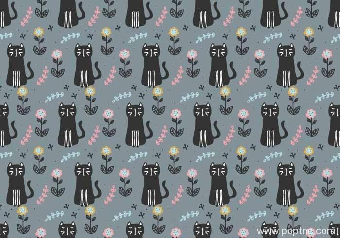 黑色猫咪图案拼接矢量图-POP花型网