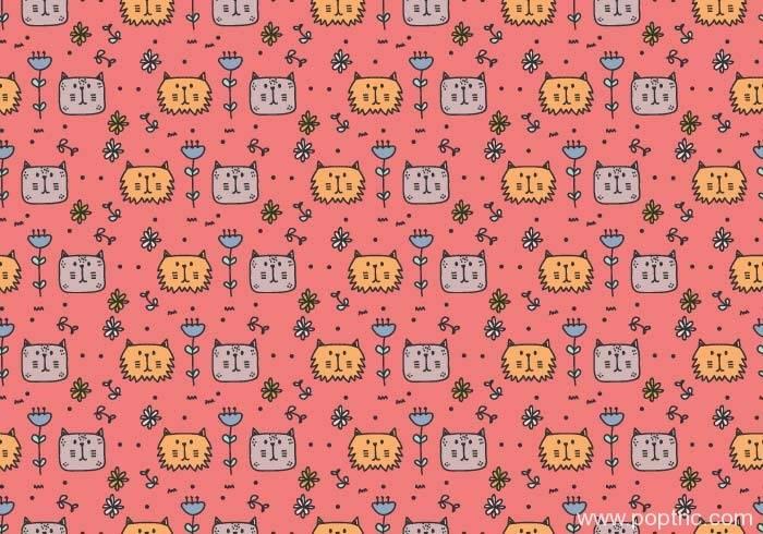 粉色底可爱猫咪头像拼接矢量图-POP花型网