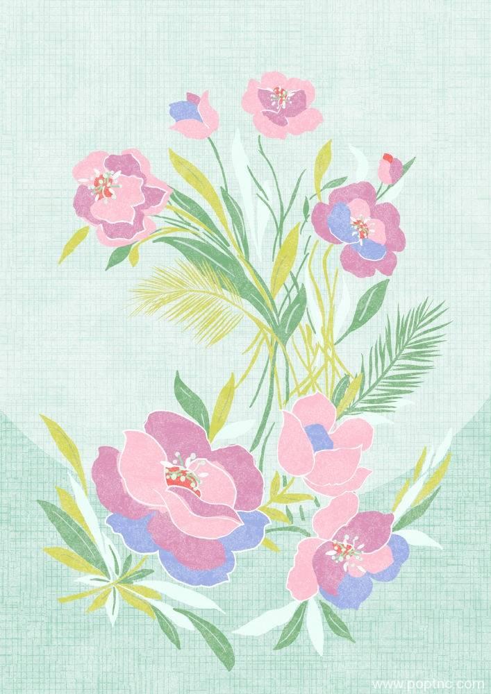 粉色牡丹花矢量图-POP花型网