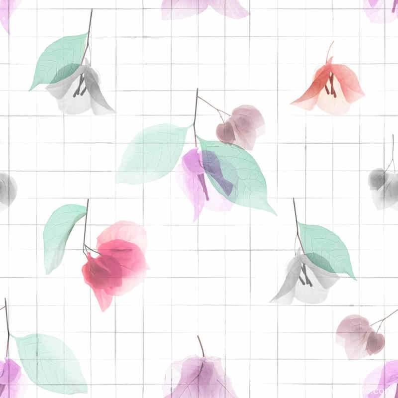 植物叶子方格矢量图服装纺织面料数码印花花型素材-POP花型网