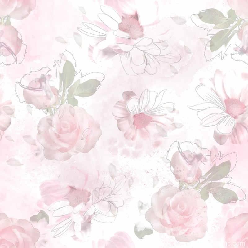 白色菊花粉色玫瑰花拼接印花矢量图-POP花型网