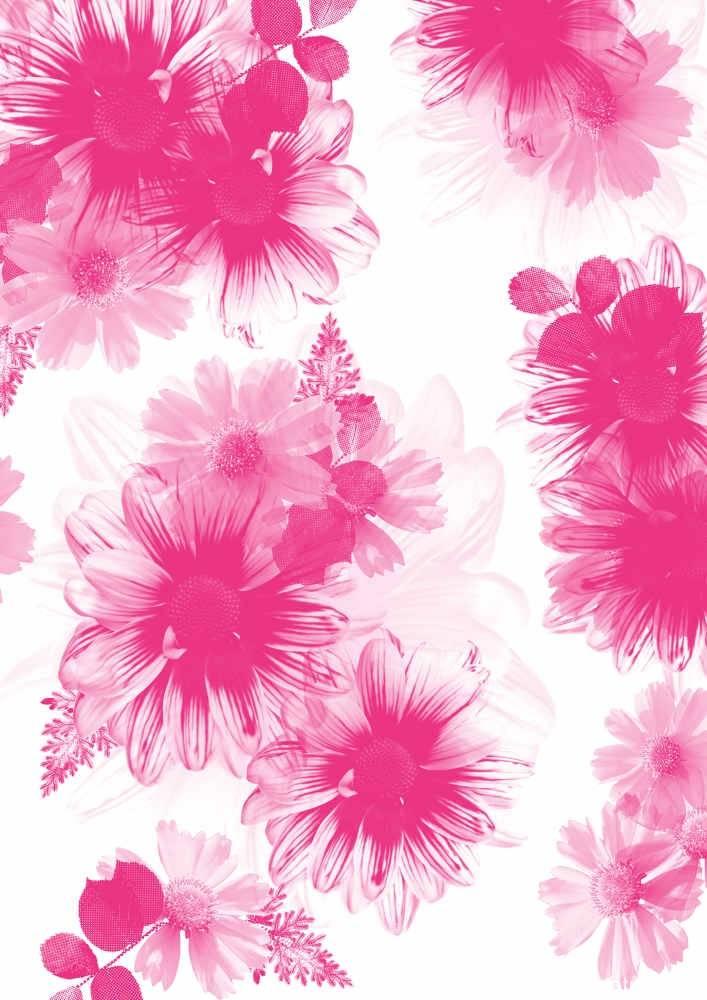 粉红色水彩风数码印花矢量图-POP花型网