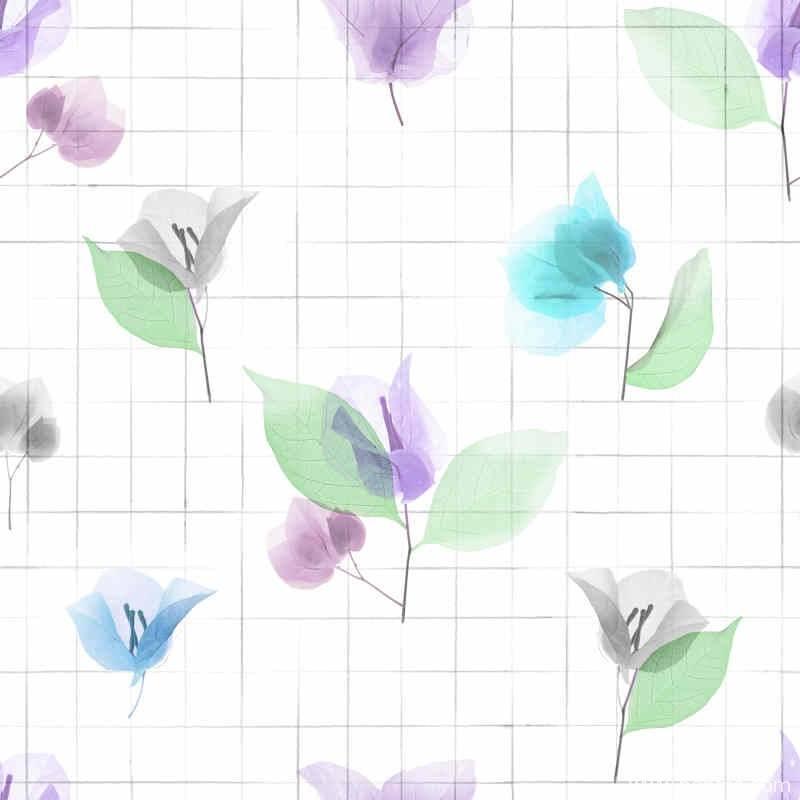 植物叶子花纹格子底纹数码印花矢量图-POP花型网
