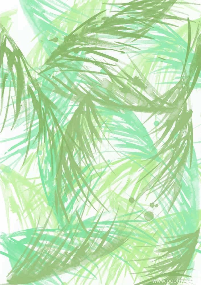 水彩风叶子线矢量图-POP花型网
