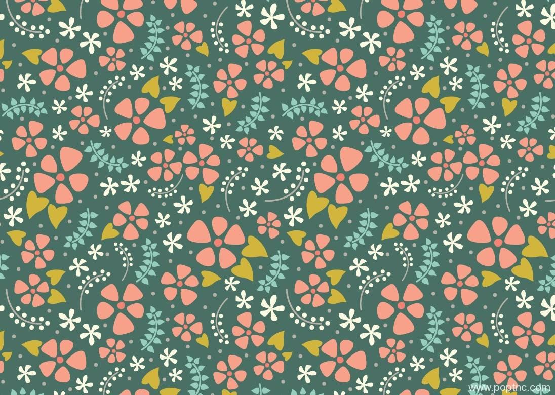 密集花朵拼接矢量图-POP花型网