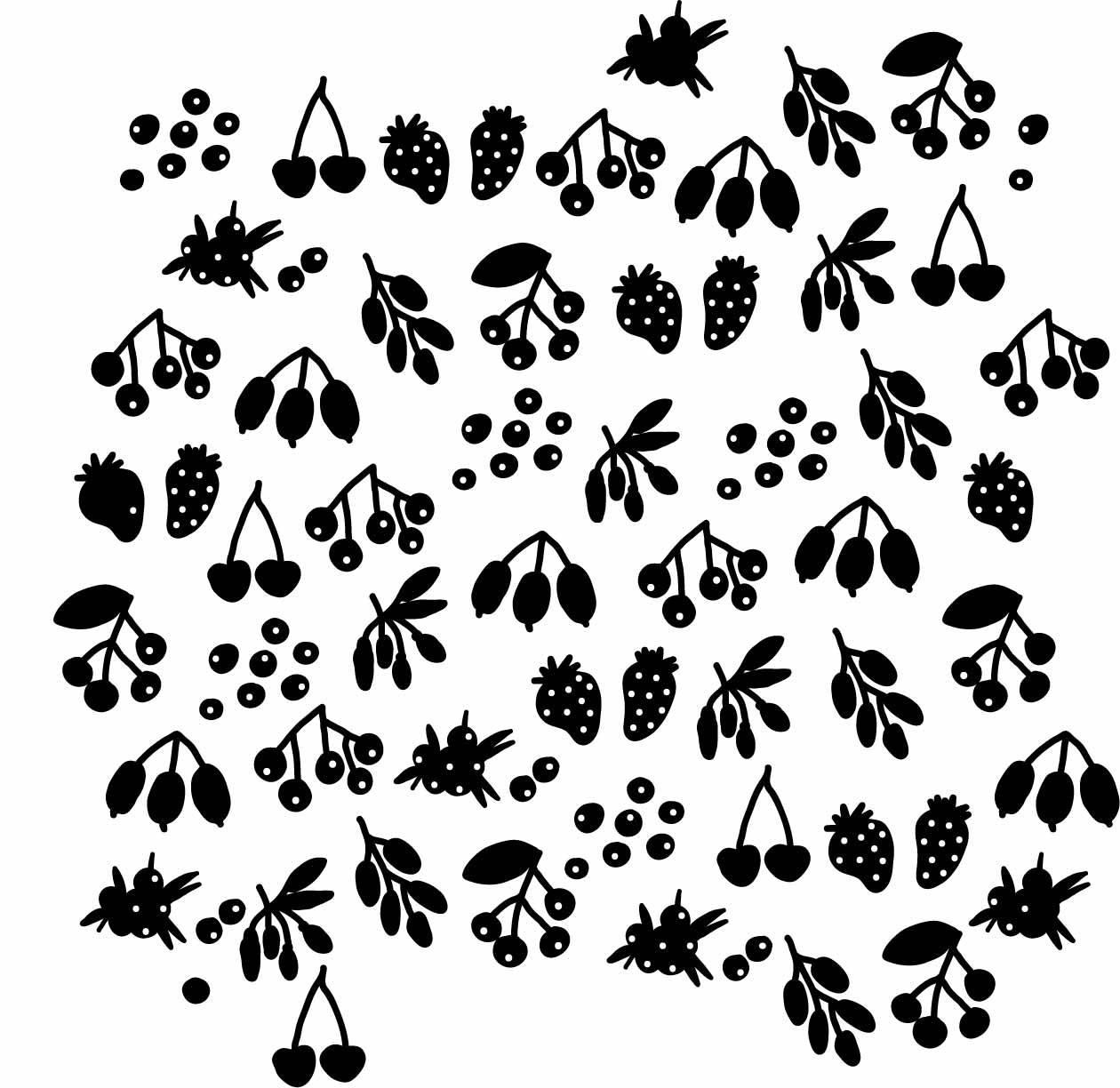 黑白植物果实拼接矢量图-POP花型网