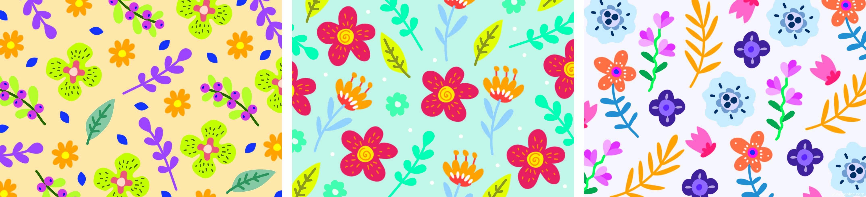 卡通花朵矢量图儿童数码印花花型-POP花型网