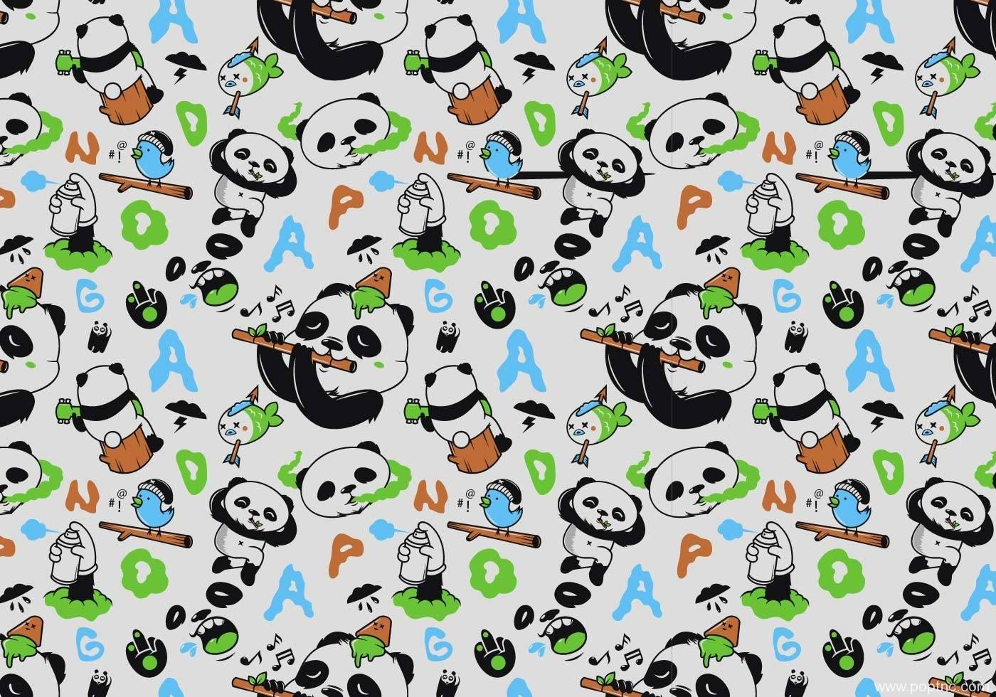 卡通熊猫英文字母拼接矢量图-POP花型网