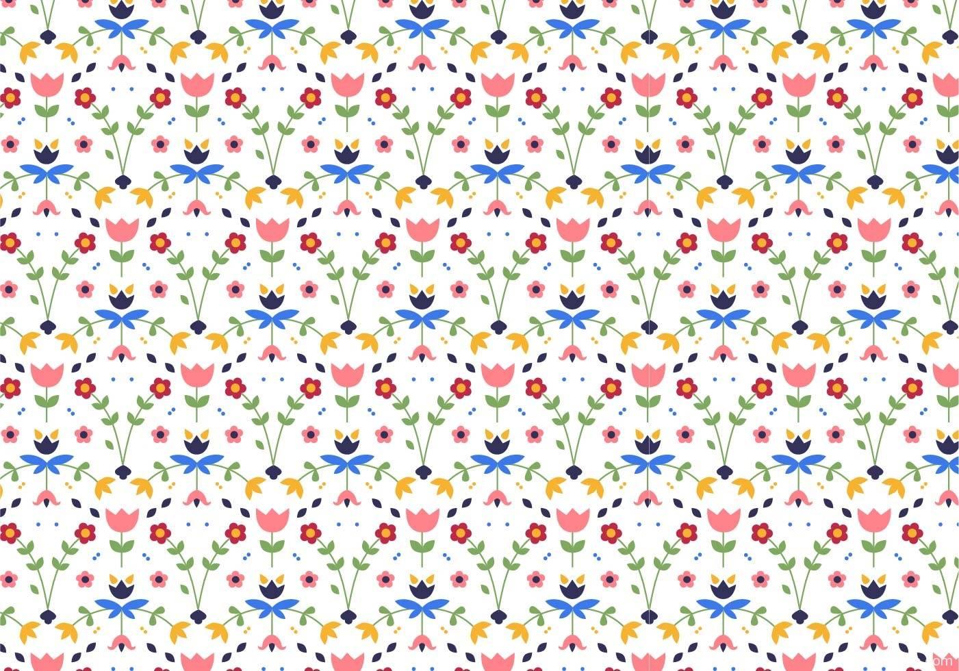 小碎花多彩植物花卉拼接矢量图-POP花型网