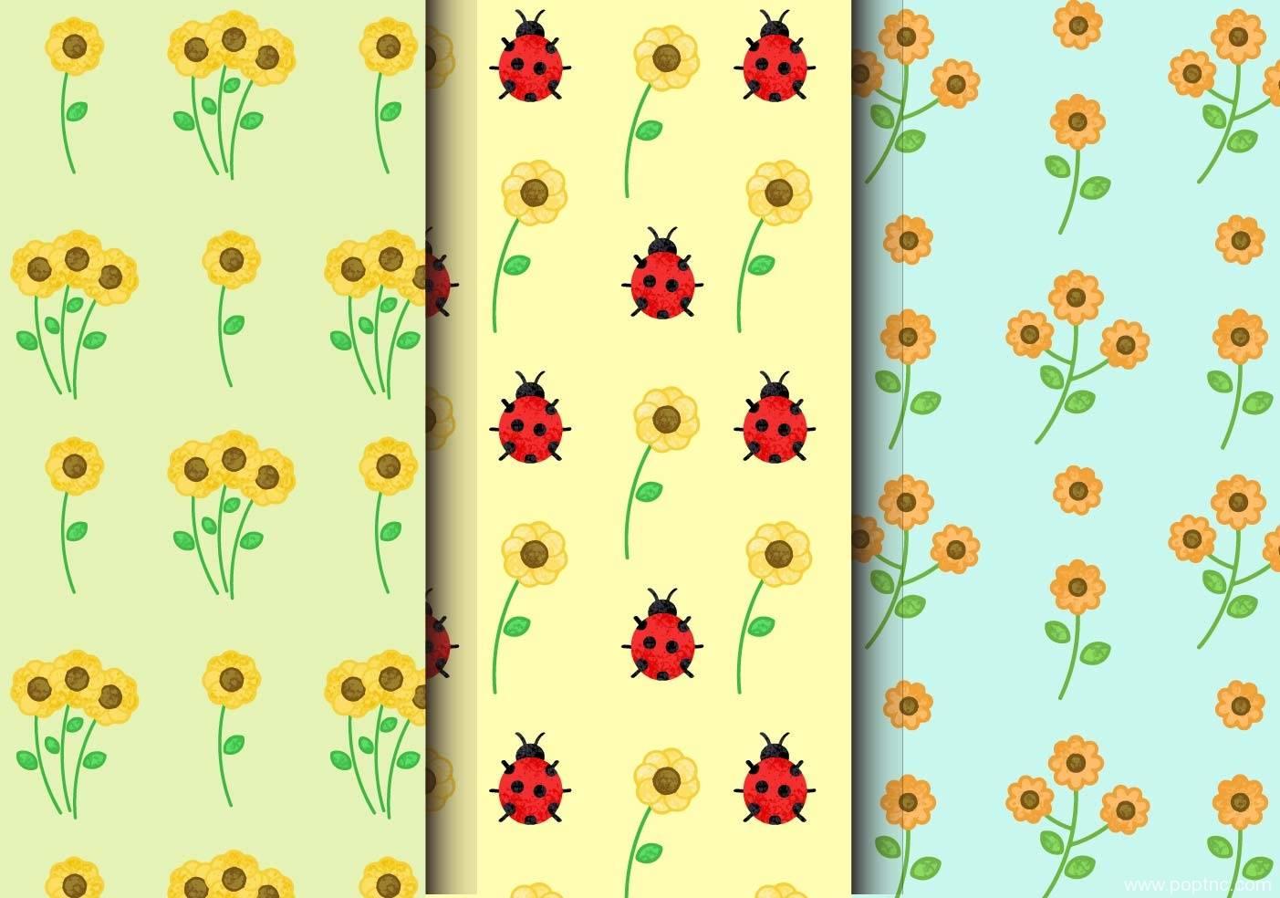 菊花植物花卉七星瓢虫无限循环矢量图-POP花型网