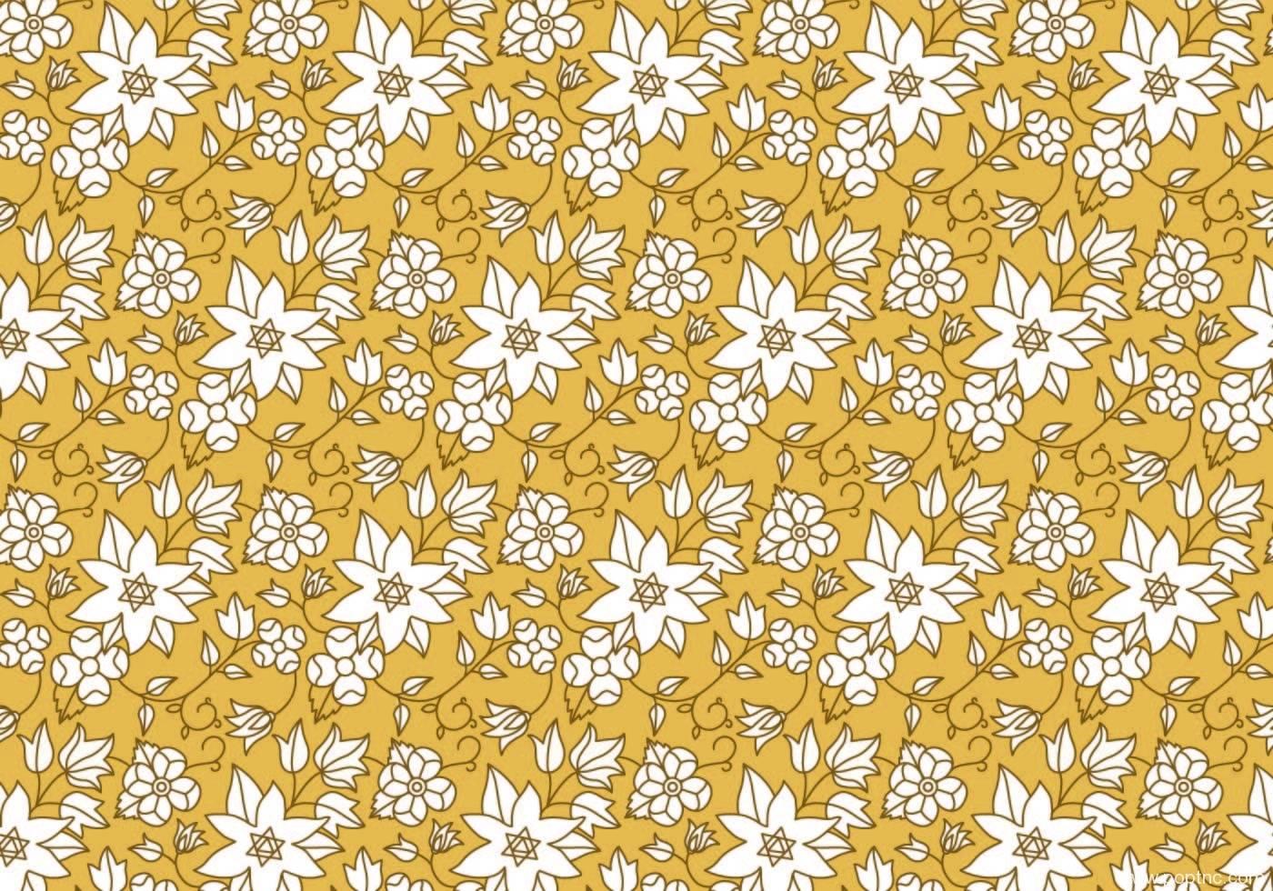 黄色底色白色花朵拼接无限循环矢量图-POP花型网