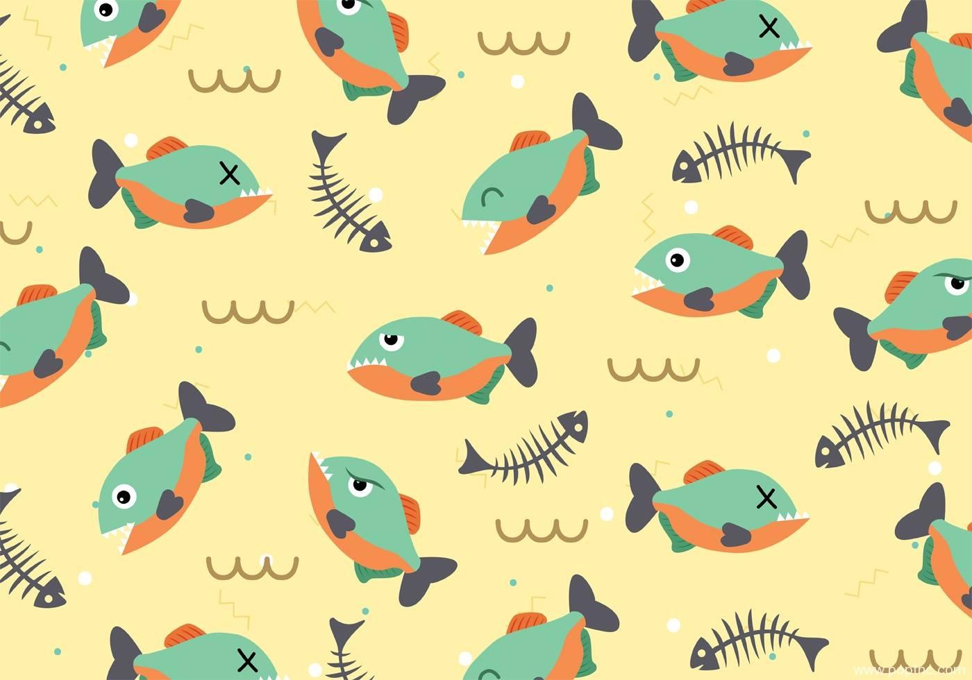 鱼儿印花矢量图儿童数码印花图案-POP花型网