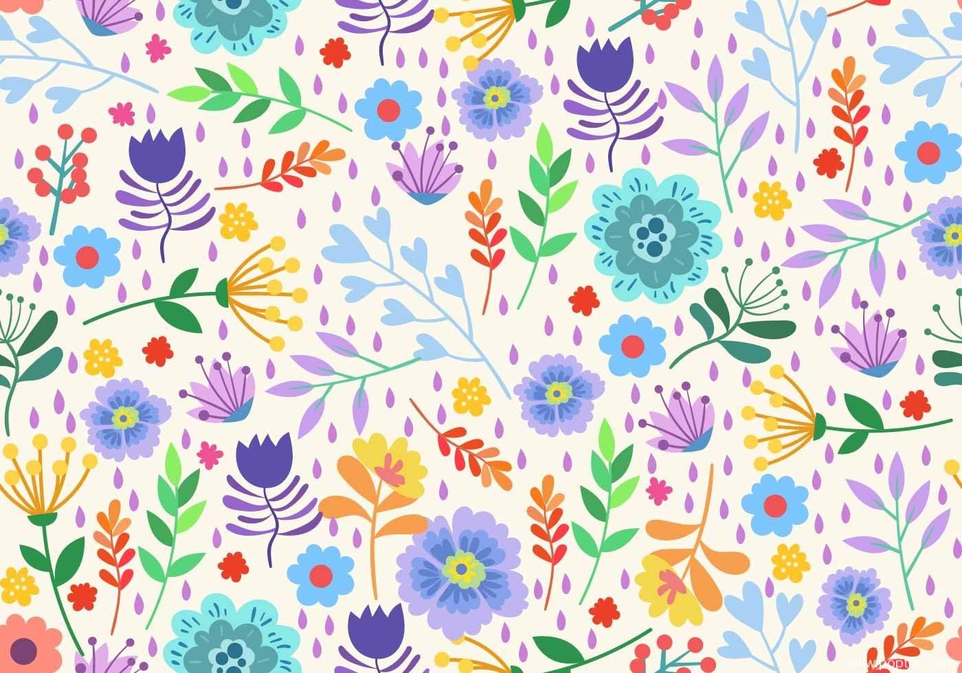 多彩植物花卉拼接矢量图-POP花型网