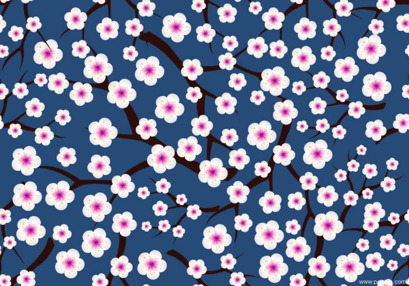 蓝色底白色梅花拼接矢量图服装纺织面料数码印花花型素材-POP花型网