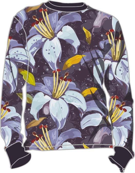 印花长袖t恤女式印花针织衫-POP花型网