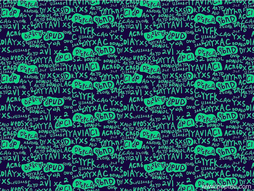 新款字母涂鸦矢量图纺织面料水印数码印花金昌分色稿文件-POP花型网