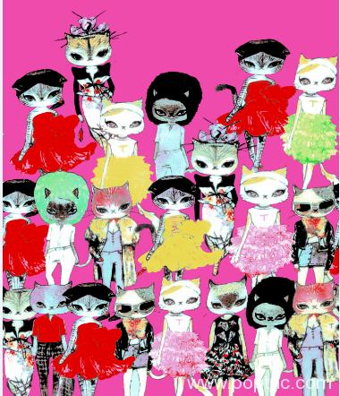 新款卡通猫咪纺织面料水印数码印花金昌分色稿源文件-POP花型网