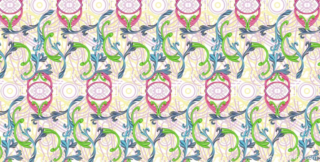 新款几何植物花纹纺织面料水印数码印花矢量图金昌格式源文件a2702-POP花型网