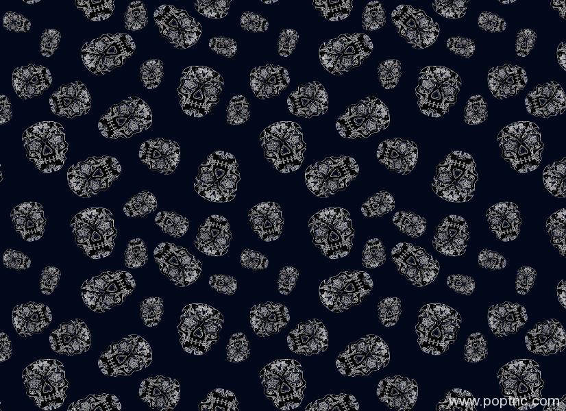 新款骷髅头印花图案蓝色底纹服装纺织面料水印数码印花矢量图金昌格式分色稿源文件a2743-POP花型网